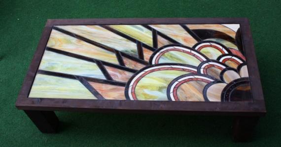 Art deco napsugaras asztal